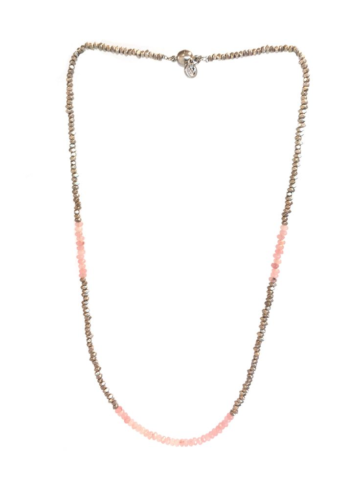 Rosemary - med length One Button necklace with silver nuggets & glass beads and magnetic clasp #rose #springsummer #necklace #accessories #onebutton  Click to buy from the One Button shop.