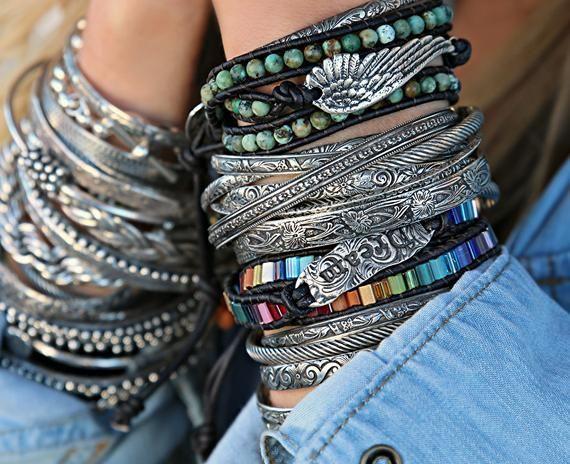 Stackable black and silver bracelets