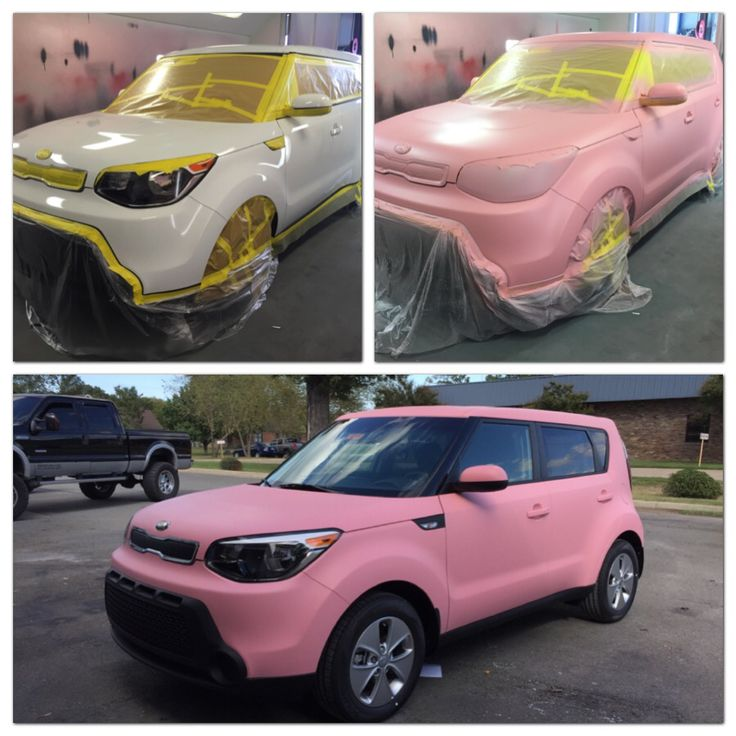2014 Kia Soul dipped in a custom pink Plastidip for a local Kia dealership in honor of Breast Cancer Awareness month.