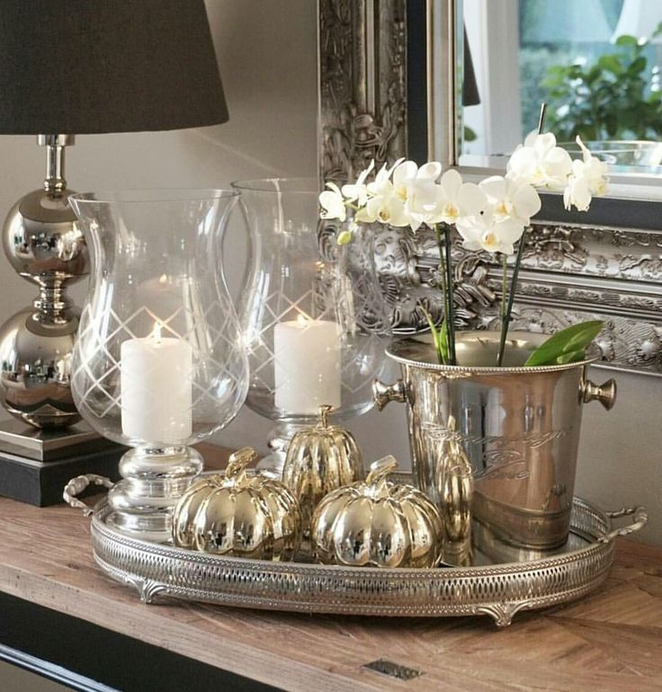 Silver tray & decor