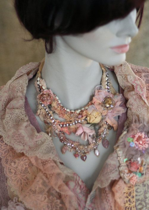 shades of ballet necklace shabby chic hand by FleursBoheme on Etsy