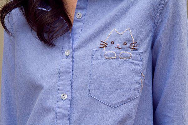 Embroidered cat pocket