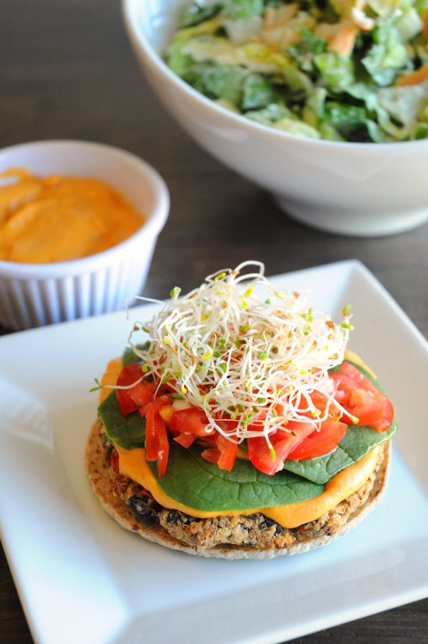 Quinoa and Black Bean Burger with #Vegan Nacho Cheese Sauce - One of the best burgers I've ever had!