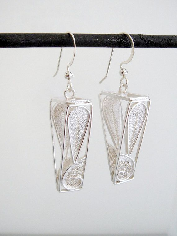 Triangle Earrings  sterling silver by SusanaTeixeiraJewels on Etsy, $89.00