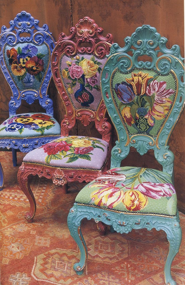 Beautiful, Extraordinary Chairs. Vibrant Rococo Fashion Chairs…