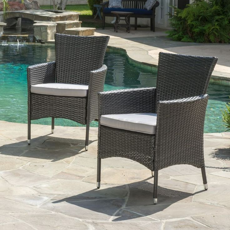 Brascha Contemporary Outdoor Gray PE Wicker Dining Chairs W/ Cushions (Set  Of 2)