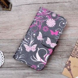 Lenovo A Plus kukkia ja perhosia puhelinlompakko.