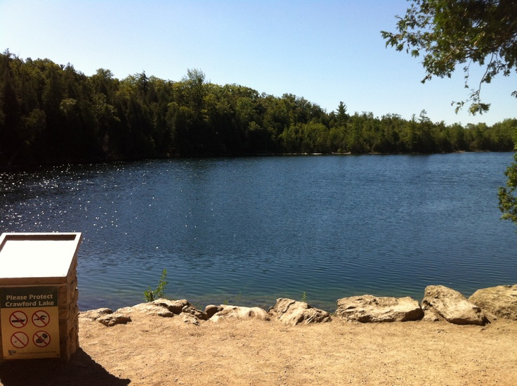 Crawford Lake - Located in Milton Ontario one of Conservation Halton's most beautiful parks. This is a meromictic lake and one of the most accurately dated pre-contact archaeological sites in Canada. The lake is surrounded by a beautiful boardwalk and much of the plant life has been largely undisturbed. There is a beautful rock lookout point, where this picture was take, that is a great spot to stop for lunch or catch up on reading. Enjoy!