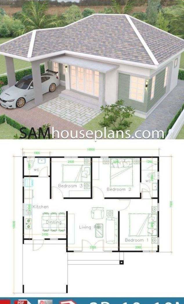 House Plans 10x10 With 3 Bedrooms Sam House Plans Rumah Indah Arsitektur Denah Rumah