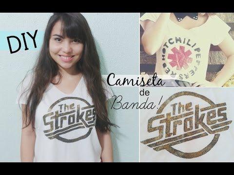 DIY: Como estampar uma camiseta de banda? / T-shirt, The Strokes por Andressa Moraes - YouTube