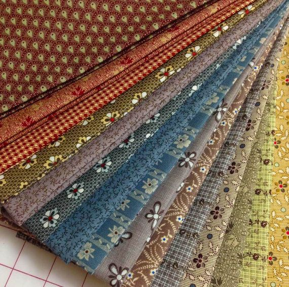 15 Olde Townhouse Civil War Reproduction Quilt Fabric Fat Quarters - Marcus Brothers