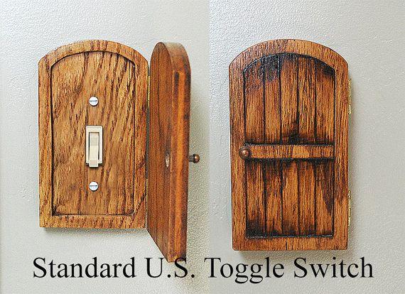 Wooden Rustic Decorative Hobbit Fairy Door Switchplate Cover Novelty Home Hidden Door Home Decor Unique Gift