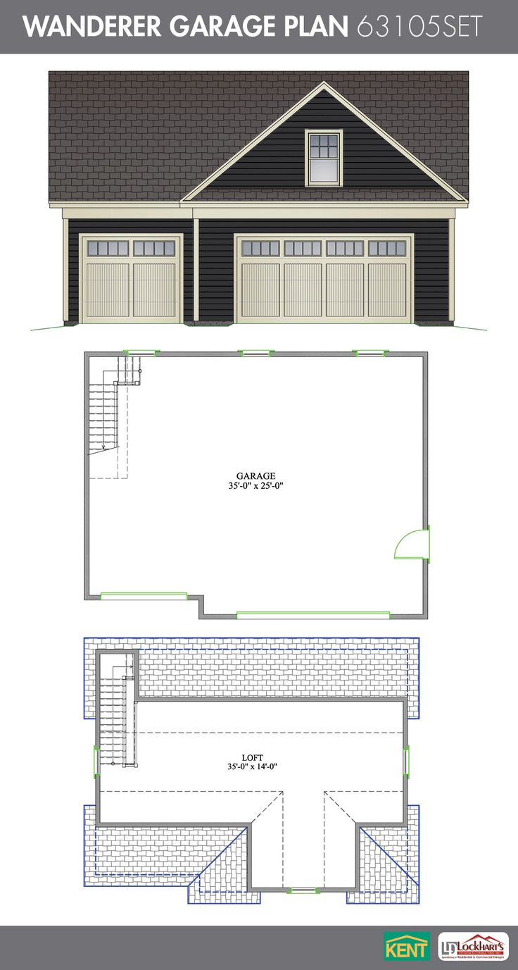 wanderer garage plan 36 x 28 3 car garage 638 sq ft bonus wanderer garage plan 36 x 28 3 car garage 638 sq ft bonus room 63105set kent building supplies garageplan garage plans pinterest garage