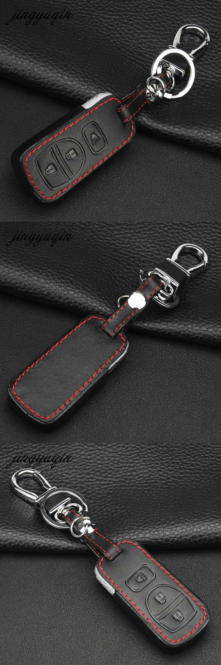 jingyuqin Leather Remote Car Key Cover 3 Button for Nissan Armada Frontier Murano Pathfinder Quest Titan Xterra Fob Case
