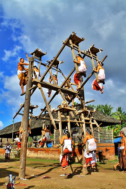 Tenganan's traditional seesaw, Bali, Indonesia. Are you kidding me? That's amazing.
