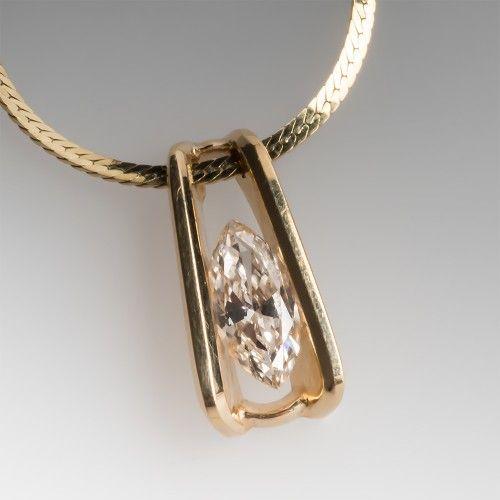 14K Marquise Diamond Solitaire Slide Pendant Necklace