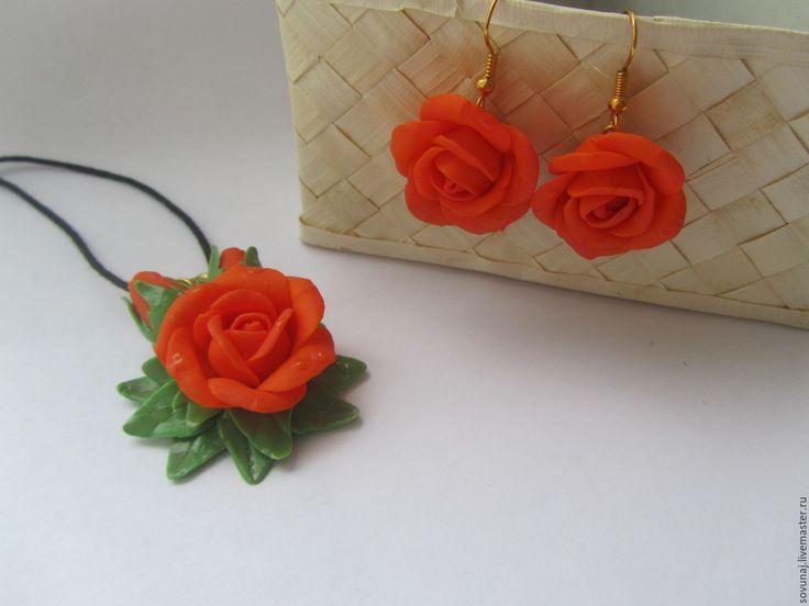"""Купить Комплект """"Оранжевые розы"""" - оранжевый, цветочное украшение, розы из полимерной глины, оранжевые розы"""
