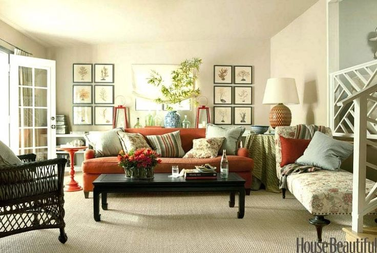 Finally - a room that's not gray filled with all white furniture! This is charming!