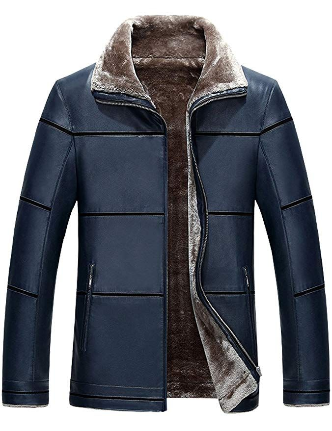 6fa11b1887d  Affiliate  Tanming Men s Winter Warm Leather Coat Real Fur Hooded Leather  Jacket (Small