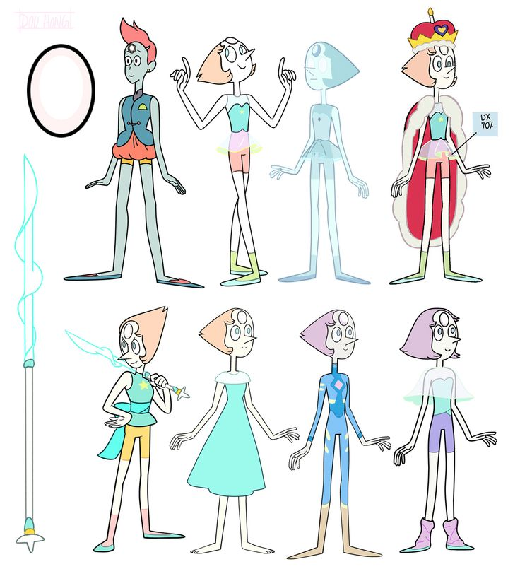 [Pearl almost every outfit spear and gem. pilot original holopearl birthday suit yellow pants beach dress casual space travel adventurer 1980s older/younger]• rose quartz ruby Character Design pearl amethyst opal sapphire garnet lapis lazuli steven universe sugilite dou-hong •