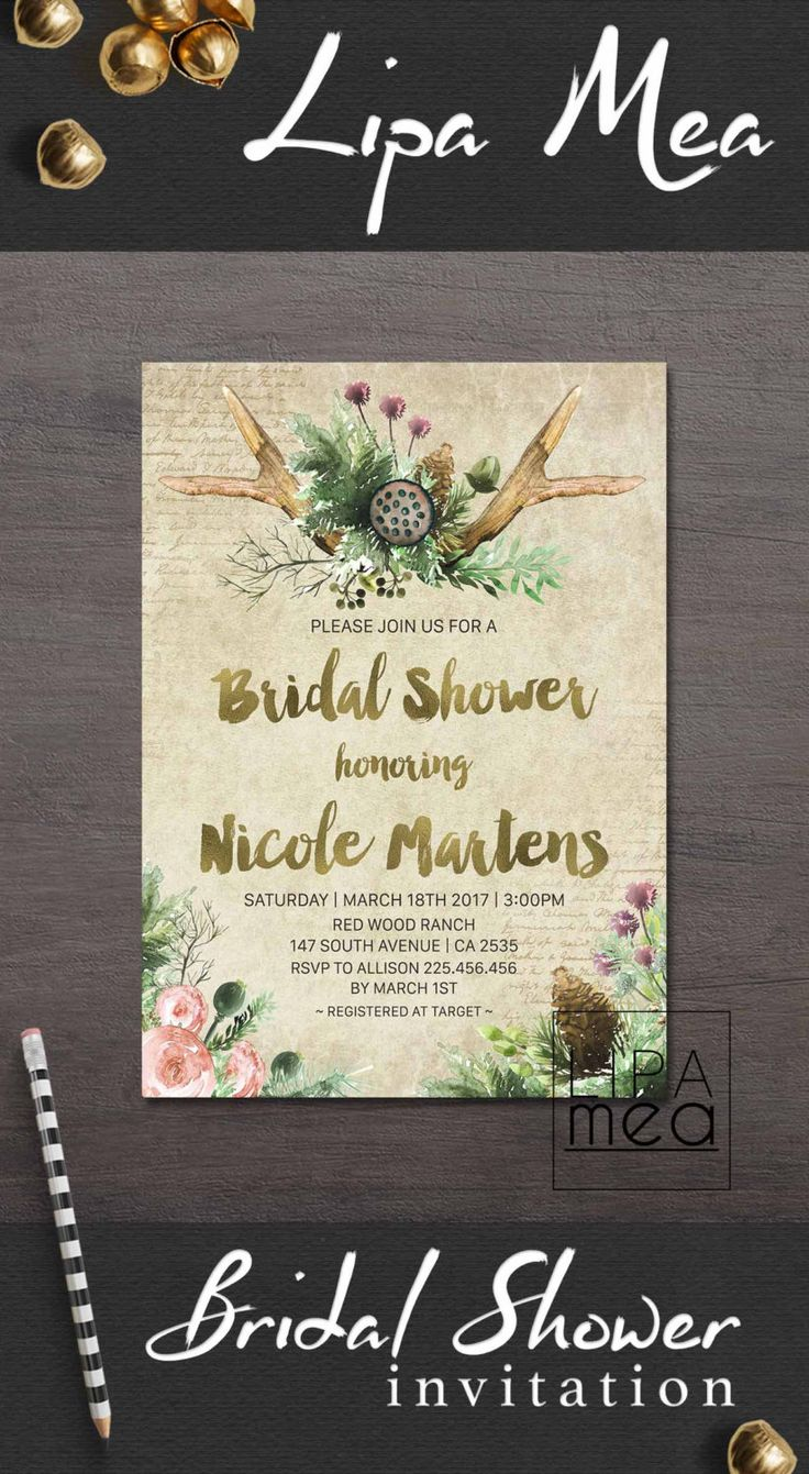 Bridal Shower Invitation Rustic, Deer Antlers Bridal Shower Invite Printable, Fall Winter Bridal Shower Trends, Boho Bridal Invitations - pinned by pin4etsy.com