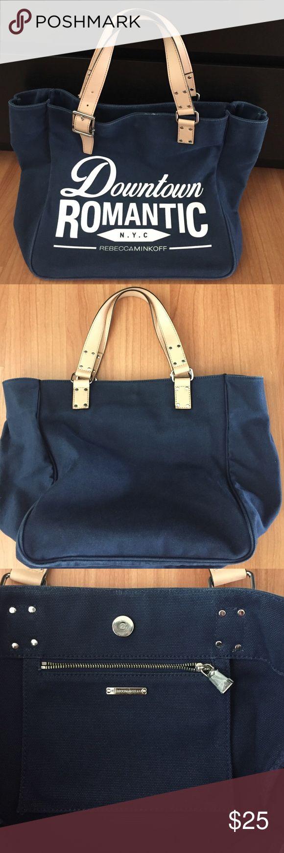 "Rebecca Monkoff navy shoulder bag Zip pocket inside 12"" x 12"" x 7"" Rebecca Minkoff Bags Shoulder Bags"