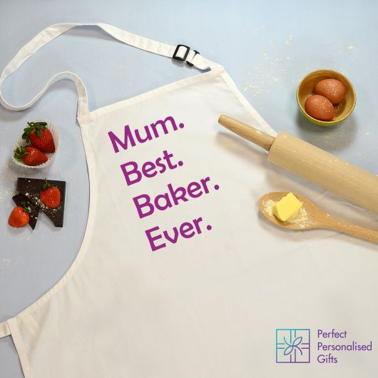 Best Baker Ever Apron.  This Best. Baker. Ever. apron is a wonderful gift for any Baking lover!  You can add any name to this personalised apron.  Please be aware that we will add what is specified in the personalisation field once ordered, so if you require a . after the name as per the design please enter this in your personalisation.