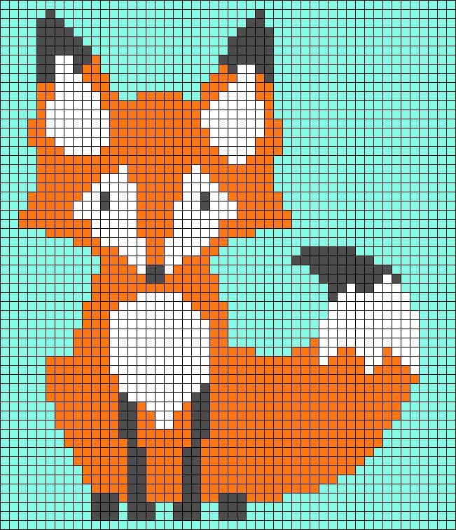 Ponto Cruz de Raposa. Fox perler bead pattern #pontocruz #raposa