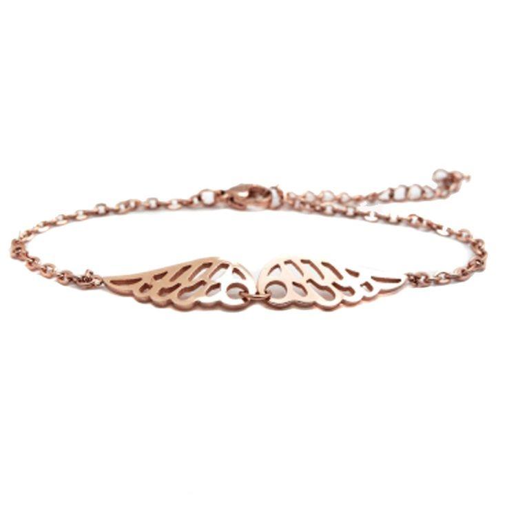 Wunderschönes Damen Armband aus Edelstahl mit filigranen Engelsflügeln Rosegold