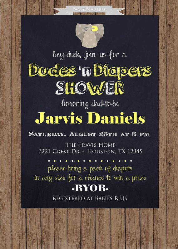 Dad Diaper Baby Shower InvitationYellow Neutral by PartyBeautiful, $14.00