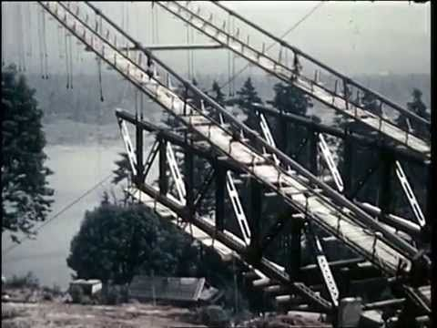 1938 Colour film footage of the construction of the Lion's Gate Bridge