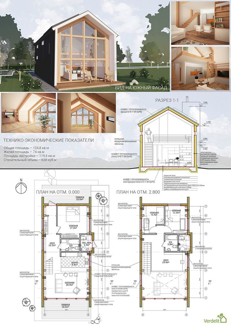Passive house - plans, sections, interior
