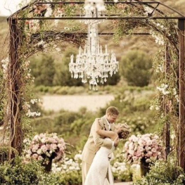 Outdoor Wedding Altar Pictures: Outdoor Wedding Altar With Chandelier