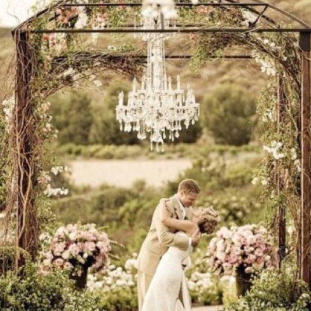 Wedding Altar Outdoor: Outdoor Wedding Altar With Chandelier
