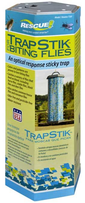 $6.39 NEW FOR 2014! Rescue VisiLure TrapStik for Biting Flies catches a variety of flies that feed on blood, including horse flies, stable flies, black flies and deer flies.  Also catches common nuisance or filth flies and gnats.  Rescue TrapStik for biting flies uses Sterling's new VisiTrap technology to ensnare flies with appealing colors and a multi-dimensional pattern.  Flies are attracted to the Visilure colors and multi-dimensional pattern, then get stuck to the adhesive surface.