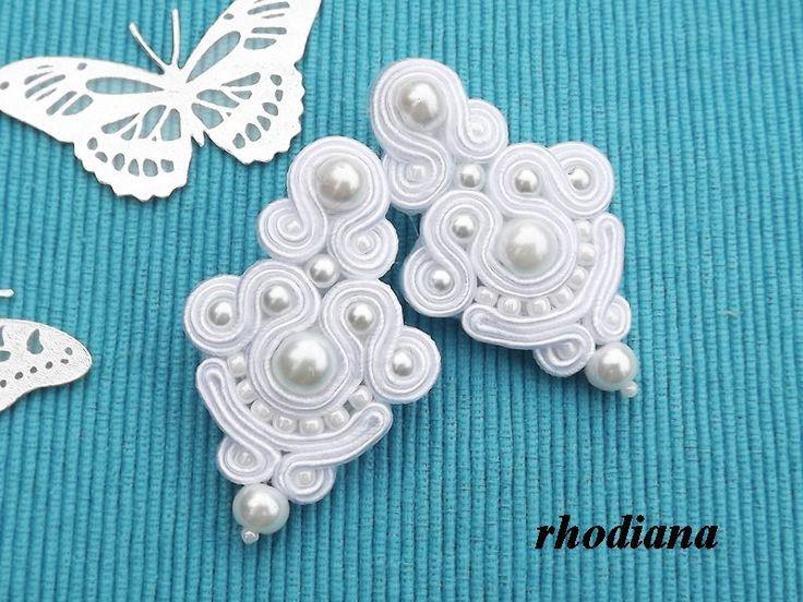Śnieżna Biel - kolczyki sutasz w rhodiana na DaWanda.com