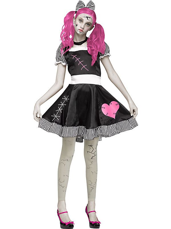 a broken doll can be eerily sad and creepy a perfect scary costume for your next halloween party black dress with striped trim and printed stitching with