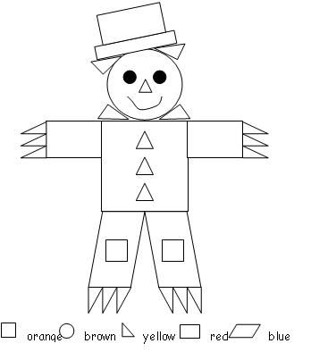 scarecrow color by shape print would be good with precut shapes to match like a puzzle - Shape Pictures To Colour