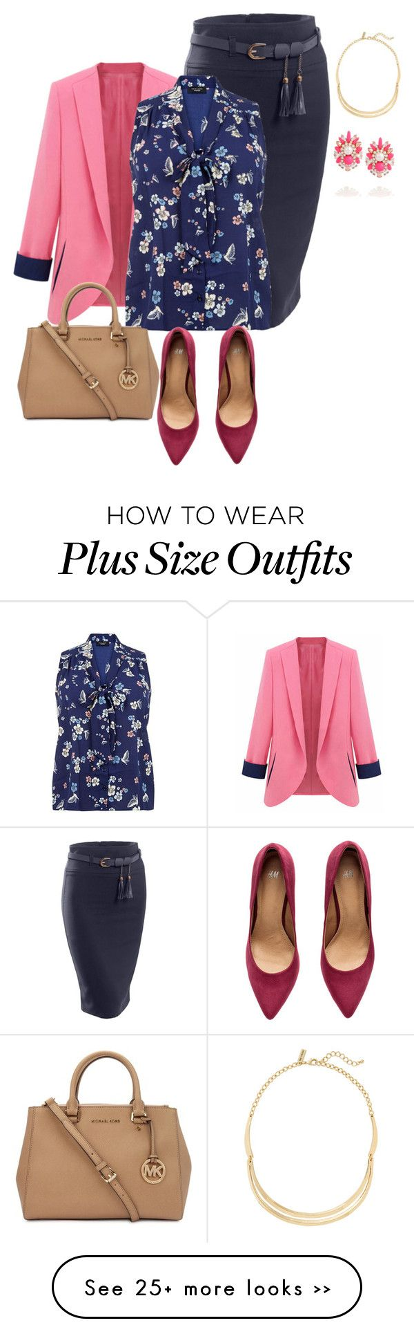 """plus size mixup office fab"" by kristie-payne on Polyvore featuring LE3NO, H&M, Michael Kors, SHOUROUK and The Limited"