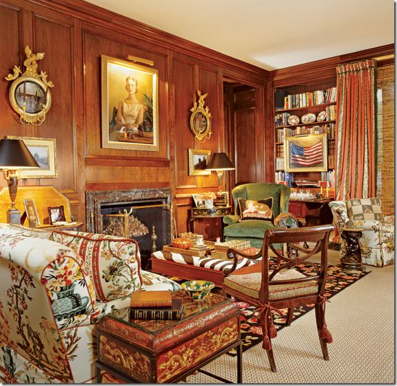 Classic Library In Houston Wood Paneled Walls Oil