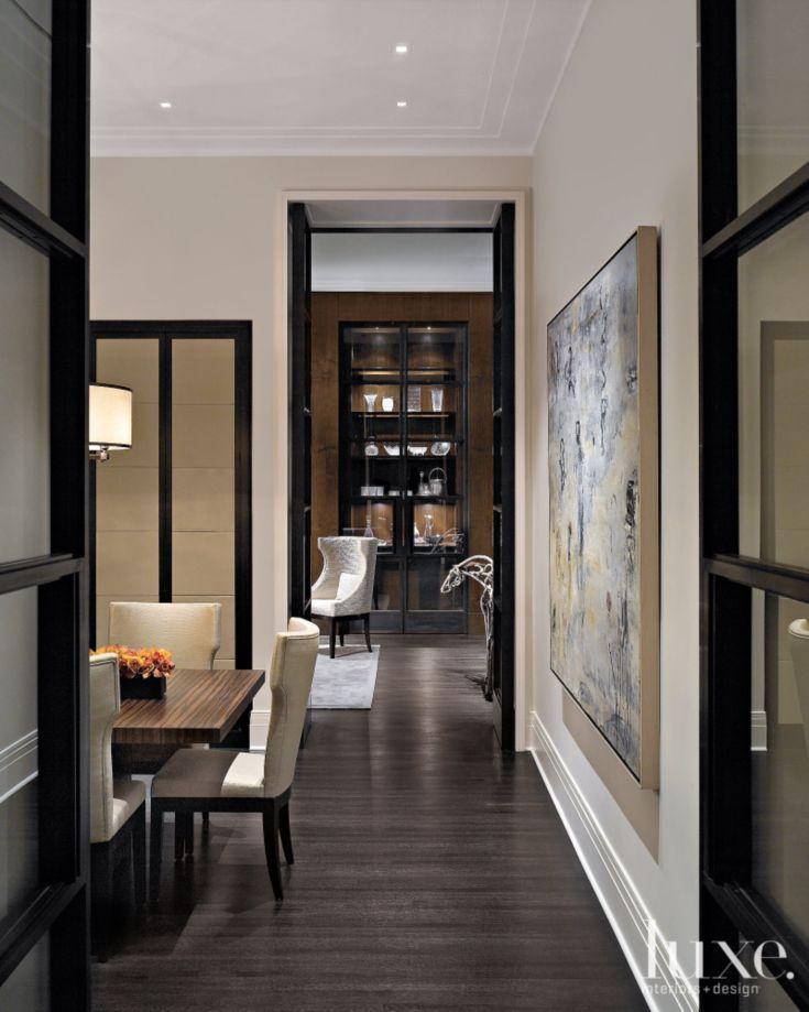 Modern White Dining Room Entry