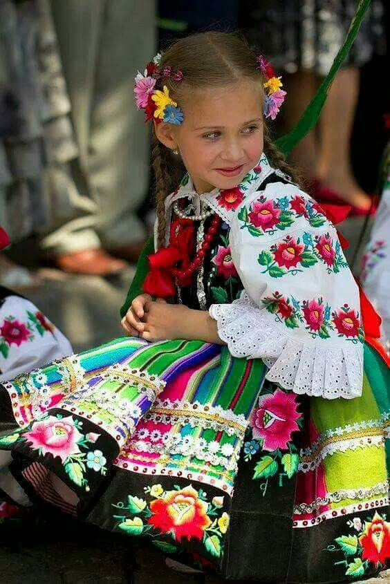 Young polish girl in national costume