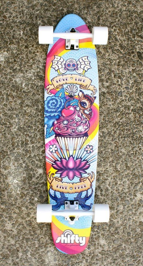 girly long board - shifty longboards  - Erika Pearce - New Zealand artist