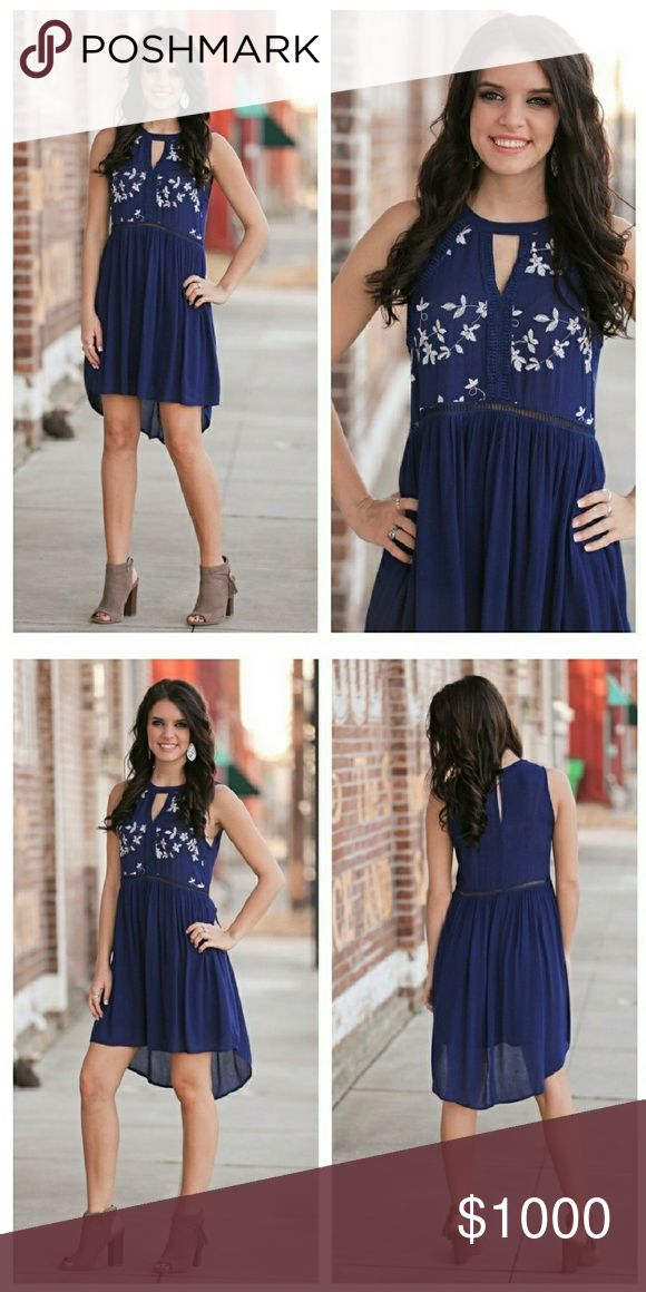Floral Embroidered High Low Dress Chic and cute navy floral embroidered high low dress. 100% Rayon S-4/6 M-8/10 L-12 AU1RDRBU41817 Dresses High Low