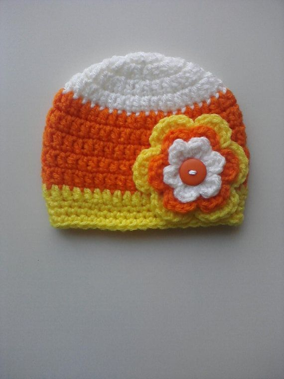 Crochet Candy Corn Hat With Flower Attached by Hats4Brats on Etsy