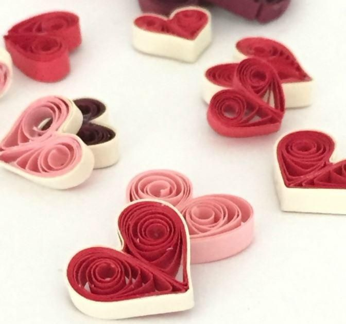 Quilled Hearts in Four Ways | Learn how to make different heart quilling designs. Use these DIY embellishments for tons of crafts.