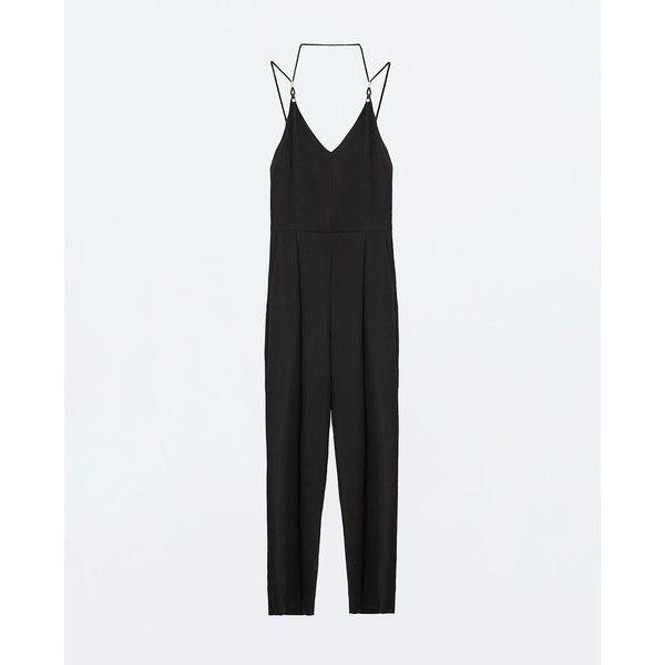 Zara Long Jumpsuit (225 BRL) via Polyvore featuring jumpsuits, jumpsuit, zara, black, zara jumpsuit, long jumpsuits e jump suit