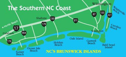 Bald Head Island, Caswell Beach, Oak Island, Holden Beach, Ocean Isle and Sunset Beach | Area Map-Coastal NC Attractions, Events, Hotels, NC Beaches