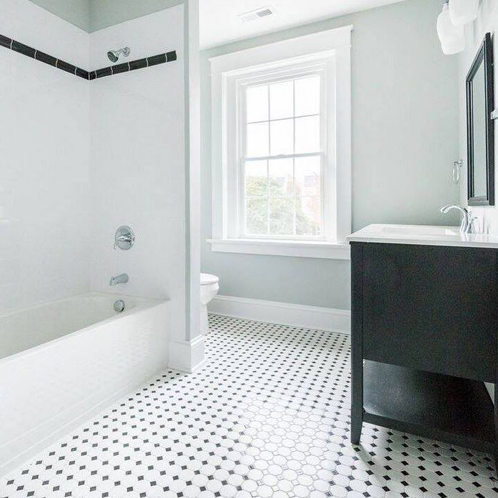 White And Black Bathroom Done With Prima Octagon And Dot On The Floor 3x6 White Subw Black And White Tiles Bathroom Black Tile Bathrooms Octagon Tile Bathroom