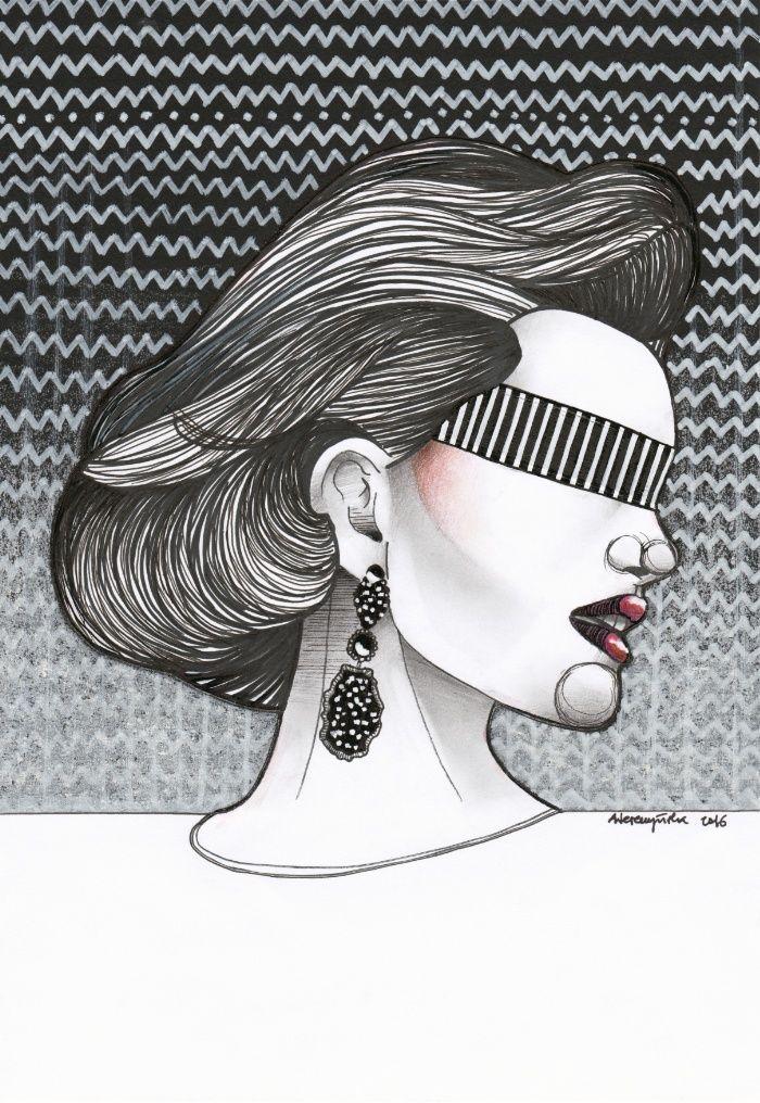 Black&White Girl Art Print by Agata Wereszczyńska | Society6